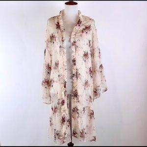 Anthro Easel sheer boho floral kimono